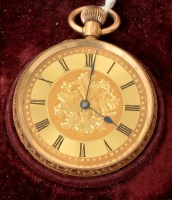 Lot 502 - A 14K open faced fob watch, with gilt roman...