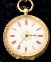 Lot 505 - A ladies 14k fob watch with enamelled roman...