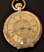 Lot 508 - A Victorian 14k fob watch, with circular roman...