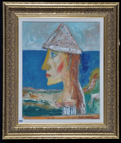 Lot 1232-John Bellany - ''The Paper Hat'', signed;...