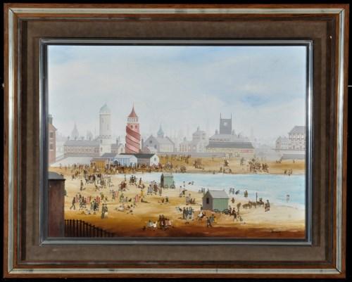 Lot 1308-Braaq (Brian Shields) - seaside scene in...