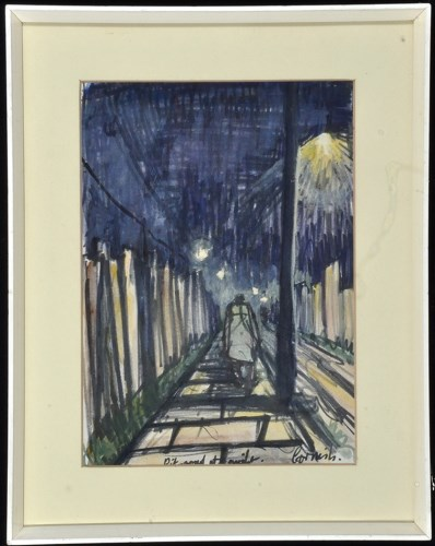 Lot 1345-Norman Stansfield Cornish - ''Pit Road at Night'',...