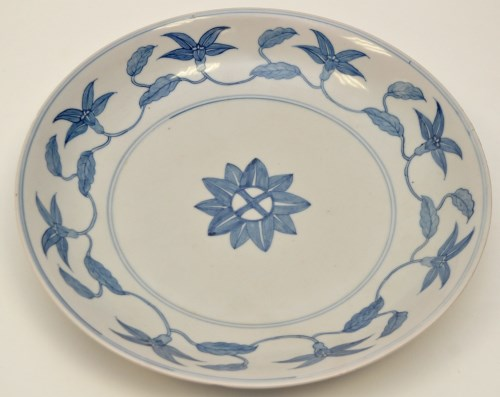 Lot 33-Chinese Ming style blue and white dish, the...