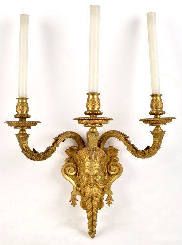 Lot 358-A set of three gilt bronze or ormolu electric...