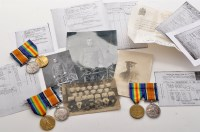 Lot 384-WWI Family medals, to include: a pair of...