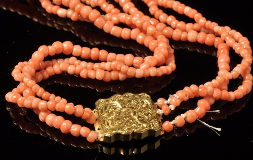 Lot 736-A Victorian coral bead necklace, the three strand ...