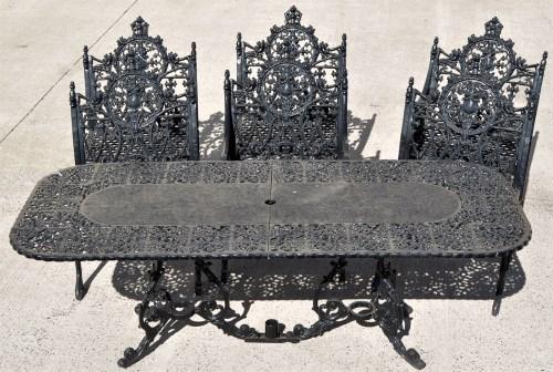 Lot 859-Coalbrookdale: a set of six Gothic pattern cast...