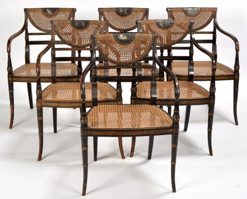 Lot 885-A set of six Regency black lacquered painted and...
