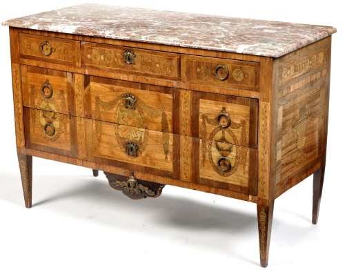 Lot 890-A Louis XVI walnut and inlaid marquetry commode,...