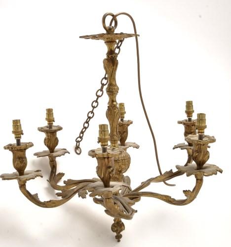 Lot 905-A Louis XV style gilt bronze six-branch...