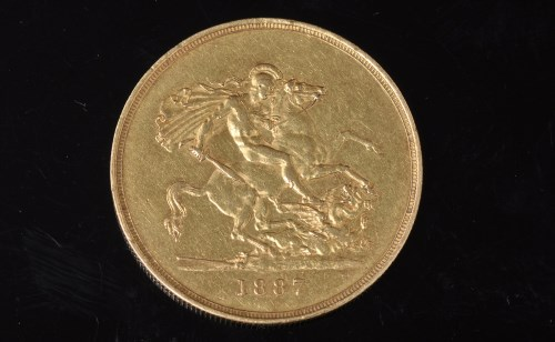Lot 109-A Queen Victoria gold £5, 1887, with Jubilee...