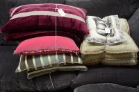 Lot 3 - Two bundles of miscellaneous cushions, one...