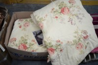 Lot 4 - A pair of large lined curtains decorated...