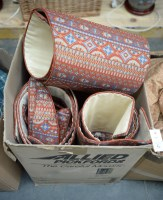 Lot 6 - Three pairs of lined patterned terracotta...