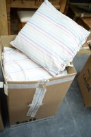 Lot 9 - A collection of old cushions in striped covers.