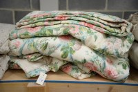 Lot 15 - A pair of lined and interlined floral...