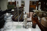 Lot 26 - Double gourd glass table lamps; a glass column...