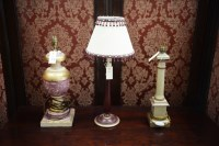 Lot 28 - Three modern painted table lamps, one with a...
