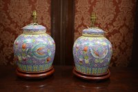 Lot 30 - A pair of modern Chinese ceramic table lamps...