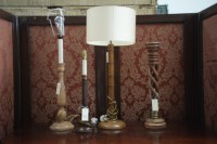 Lot 37 - A turned oak candlestick style table lamp; two...