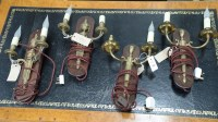 Lot 38 - Two pairs of modern brass wall light fittings...