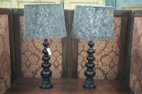 Lot 52 - A pair of modern black ceramic table lamps,...