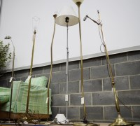 Lot 64 - A 20th Century style brass anglepoise standard...