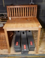 Lot 71 - A modern pine rectangular table, 120cms long;...