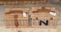 Lot 78 - Two small wicker lunch baskets, with leather...
