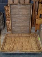 Lot 79 - Two large rectangular bamboo trays, 98cms long.