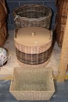 Lot 80 - A large circular woven bamboo log basket; and...