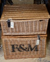 Lot 81 - A rectangular wicker basket with hinged cover...
