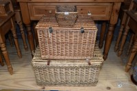 Lot 86 - A large rectangular basket with hinged cover,...