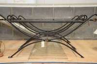 Lot 95 - A pair of modern black painted wrought iron...