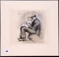Lot 315-Robert Jobling - a fisherman with a child on his...