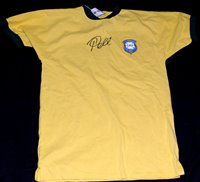 Lot 83 - A Brazil replica t-shirt signed by Pele, with...
