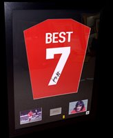 Lot 88 - A George Best replica shirt signed on No.7,...