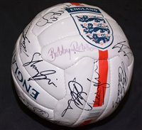 Lot 72 - An England football signed by various members...