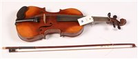 Lot 25 - Continental three quarter sized violin with...