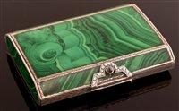 Lot 636 - Malachite and Silver Snuff box