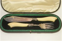 Lot 610 - Silver and ivory fish servers