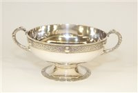 Lot 553 - Dublin silver bowl with Lindisfarne boarder