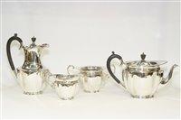 Lot 554 - George V silver four piece tea service