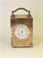 Lot 641 - George V silver cased carriage clock