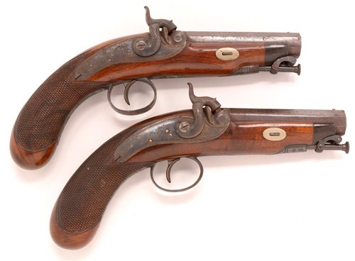 499 - Pair of pistols - Burmand, Newcastle.