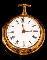 683 - A George III gilt brass verge pocket watch.