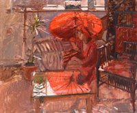 """316 - """"Valerie: red and grey (the red parasol)""""."""