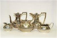 Lot 599 - Composite 5 piece silver tea and coffee service