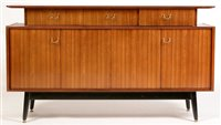 1111 - G-Plan: a Librenza style teak and ebonised sideboard,
