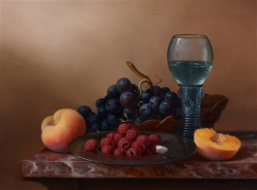 Lot 393-Still-life fruit and a hock glass.